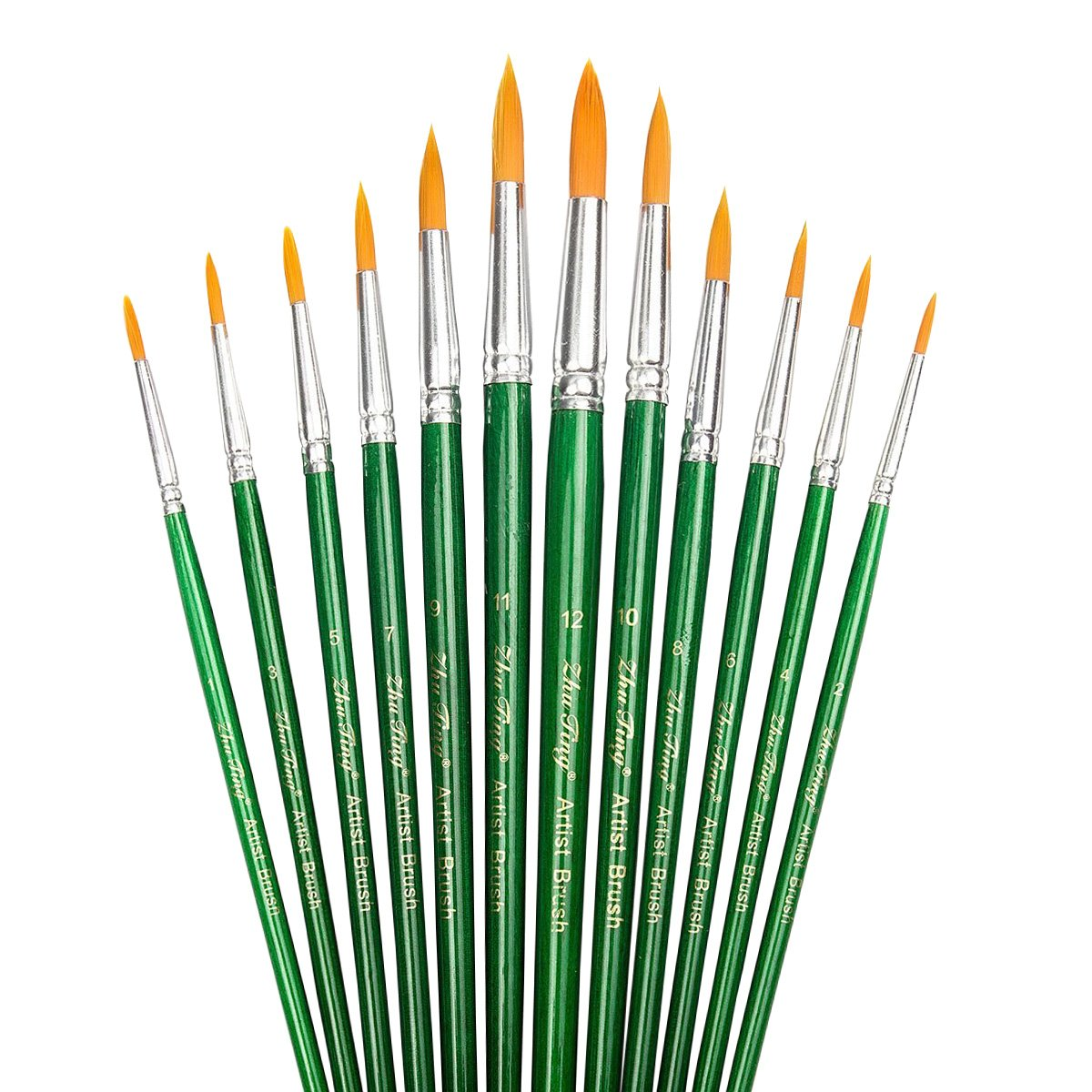 StarVast Painting Brushes, 12pcs Professional Pointed Acrylic Paint Brush Set for Watercolor/Oil/Acrylic/Crafts/Rock/Nail/Face Painting and Gouache