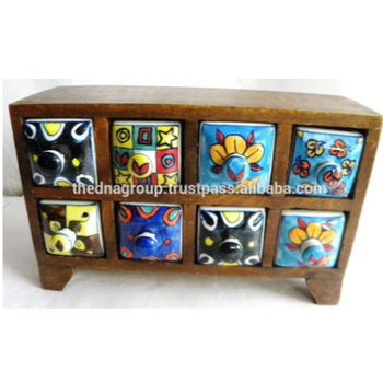 Indian Wooden Chest Cabinet 8 Ceramic Drawers Natural