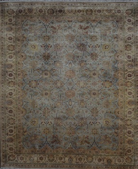 Hand Knotted 100 Silk Tabriz Persian Light Blue Cream Color Rajasthan India Area Rug