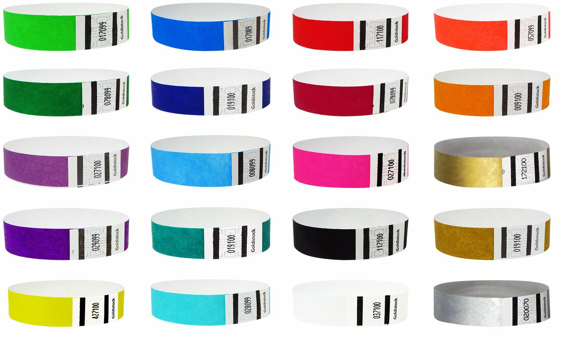 "Goldistock 3/4"" Tyvek Wristbands Top Twenty Variety Pack 20 Colors 200 Ct.- Green (2 Shades), Blue(3 Shades), Red(2), Orange(2), Purple(2), Gold(2), Yellow, Pink, Silver, Aqua, White, Black, Teal"