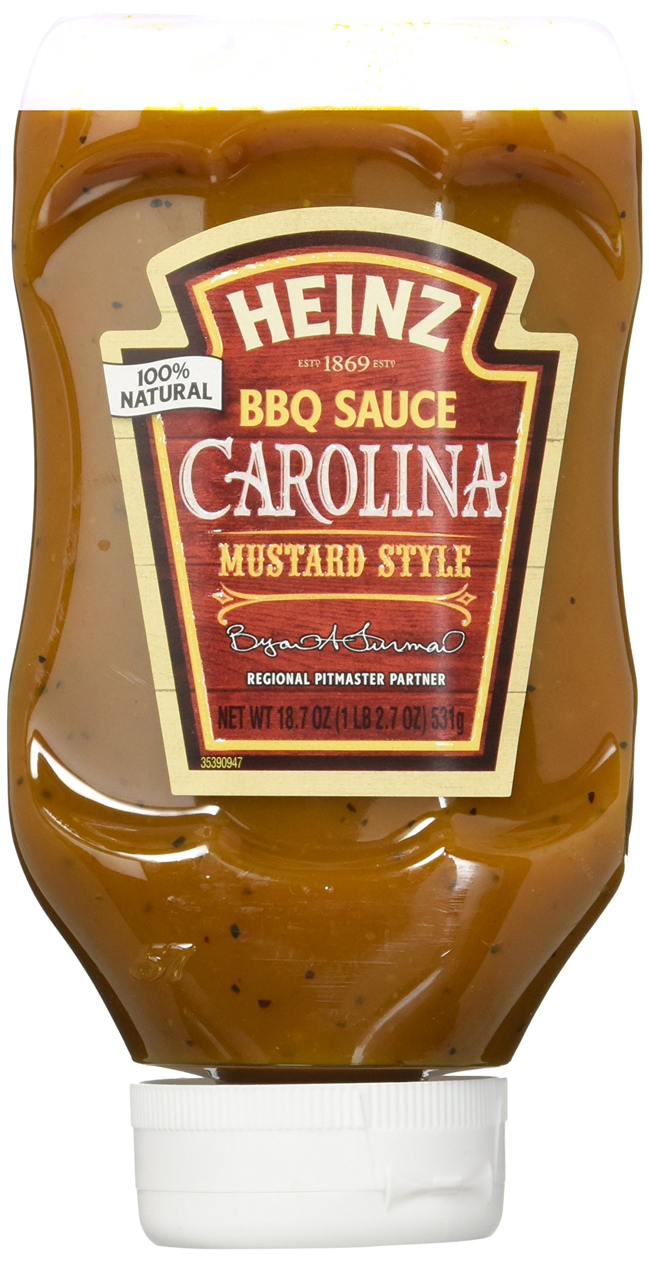 Heinz BBQ Sauce, Carolina Mustard Style BBQ Sauce, 18.7 ounce squeezable bottle(Pack of 6)