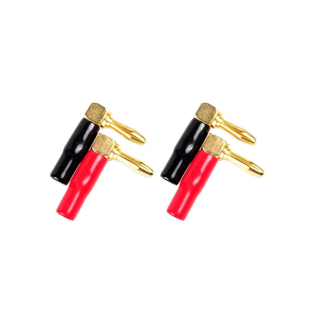 HoGadget 2 Pair 4mm Banana Plugs Screw Type Banana Plug 90 Degree Right Angle Speaker Cable Connector Copper Gold Plated (2 Black + 2 Red)
