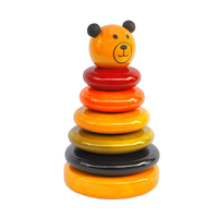 Wooden Handcrafted Colour Rings Cubby Stacker Toy for Toddlers