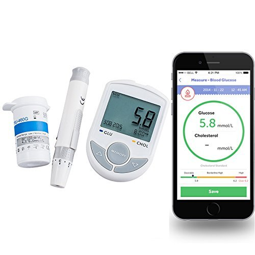 Zorvo 2in1 Glucose / Cholesterol Meter monitor Bluetooth 4.0 with APP for IOS Android +50 Glucose Test Strips+ 10 twist lancets