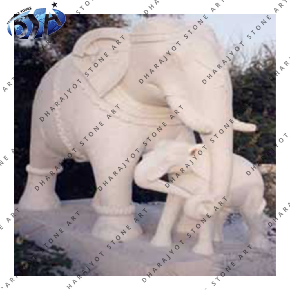 Beautiful Mother And Baby Sandstone Elephant Statue Decor Of Product On