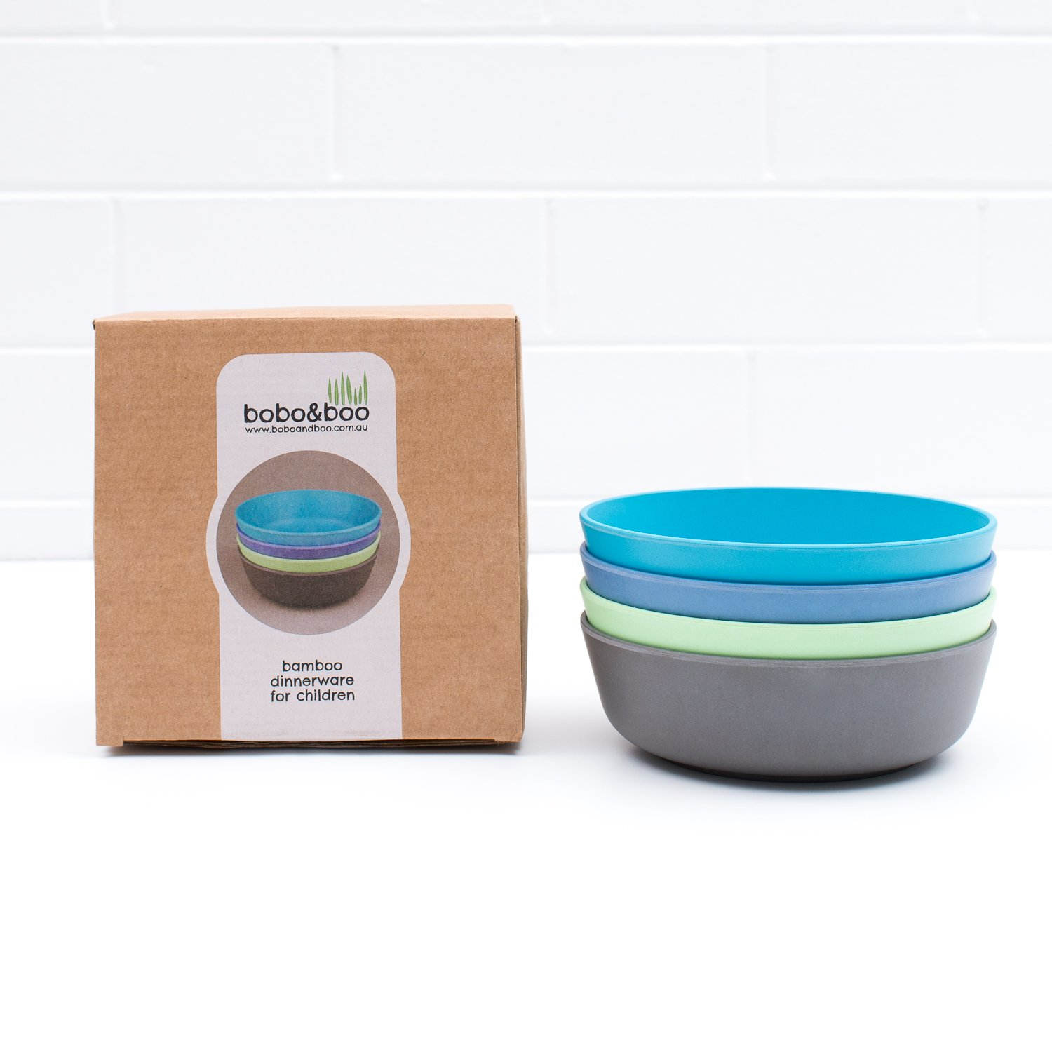 Bobo&Boo Bamboo Kids Bowls, Set of 4 Eco Friendly Toddler Bowls :: Non Toxic & Kid Safe Dishes for Cereal & Soup :: Mix and Match :: Great Gift for Baby Showers & Birthdays, Coastal