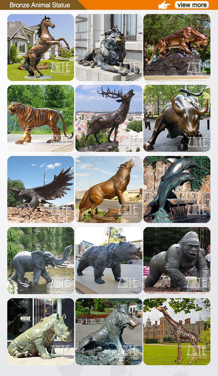 Jardim ao ar livre Decoração Ofício Do Metal Bonito Animal Bronze Estátua De Coelho