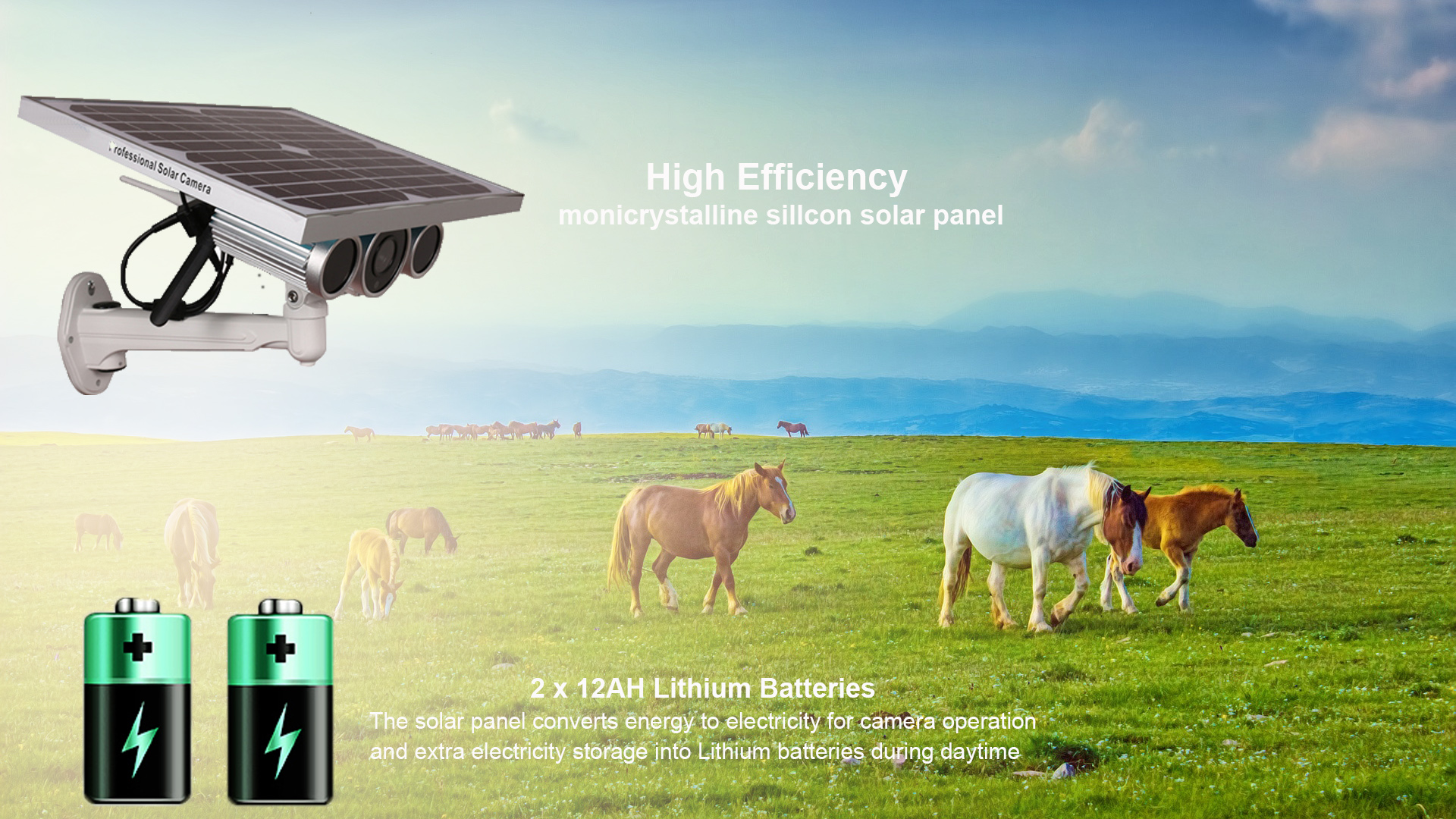 12W Solar Panel 6mm 2.0MP IP66 16GB TF Card Wireless Outdoor Security 3G 4G GSM Solar Camera