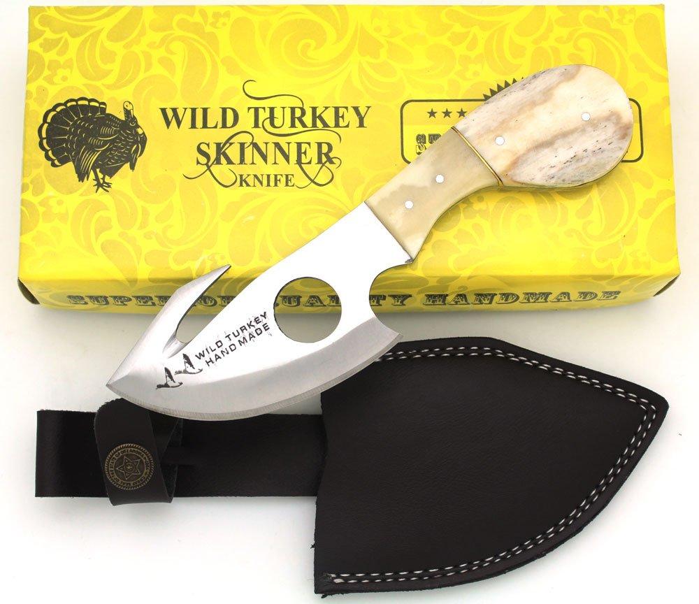 Wild Turkey Handmade Camel Bone Handle Fixed Blade Gut Hook Skinner Hunting Knife Outdoors Camping Fishing