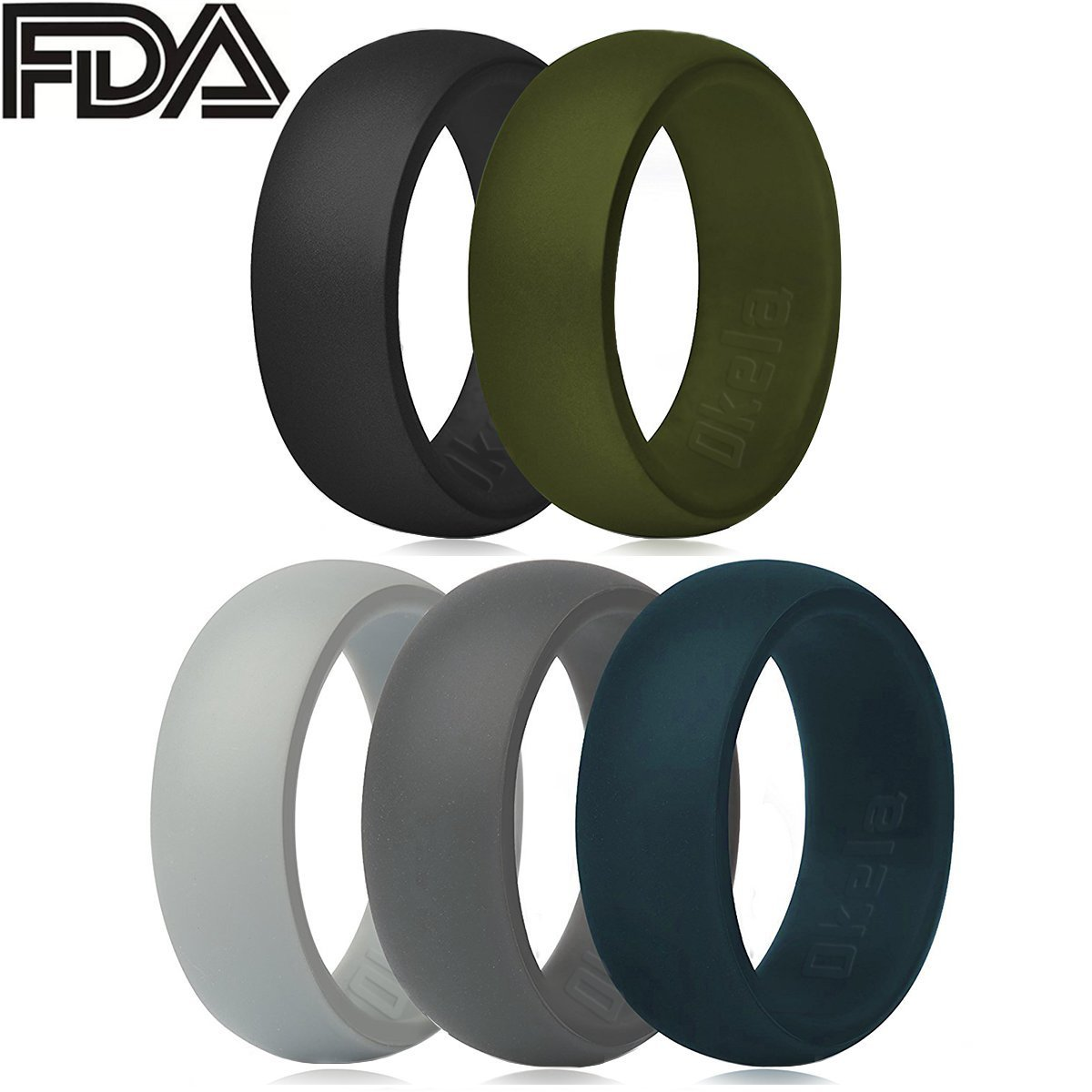 Fitness /… OKELA Silicone Wedding Rings Premium Medical Grade Silicone Wedding Bands for Active Men//Women Comfortable and Non-Toxic Rubber Ring for Daily Wear Travel Work