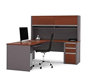 """Bestar L Shaped Desk W/Hutch 71.1""""W X 82""""D X 65.9""""H Hutch W/Two Large Flip Up Doors Two Convenient Paper Shelves Under Flip Up Doors & Rubber Strip For Wire Management - Bordeaux & Slate"""