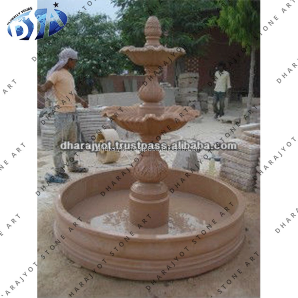 Indian Red Sandstone Carving Exterior Garden Fountain Decor