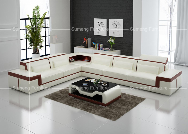 Best Quality Latest Fancy Living Room White And Brown Genuine Leather Corner Sofa Set Designs