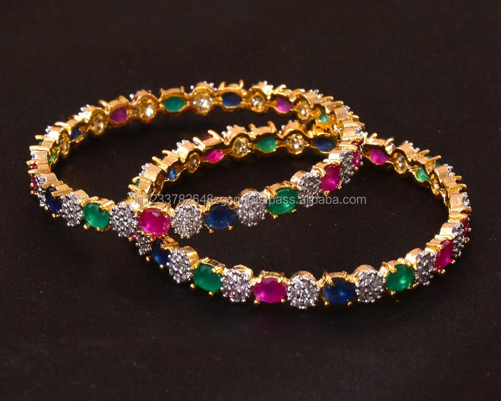 2pc Indian Wedding Ethnic Gold Plated Red Green Blue CZ Handmade Bollywood Traditional American Diamond Bangle Bracelet Jewelry