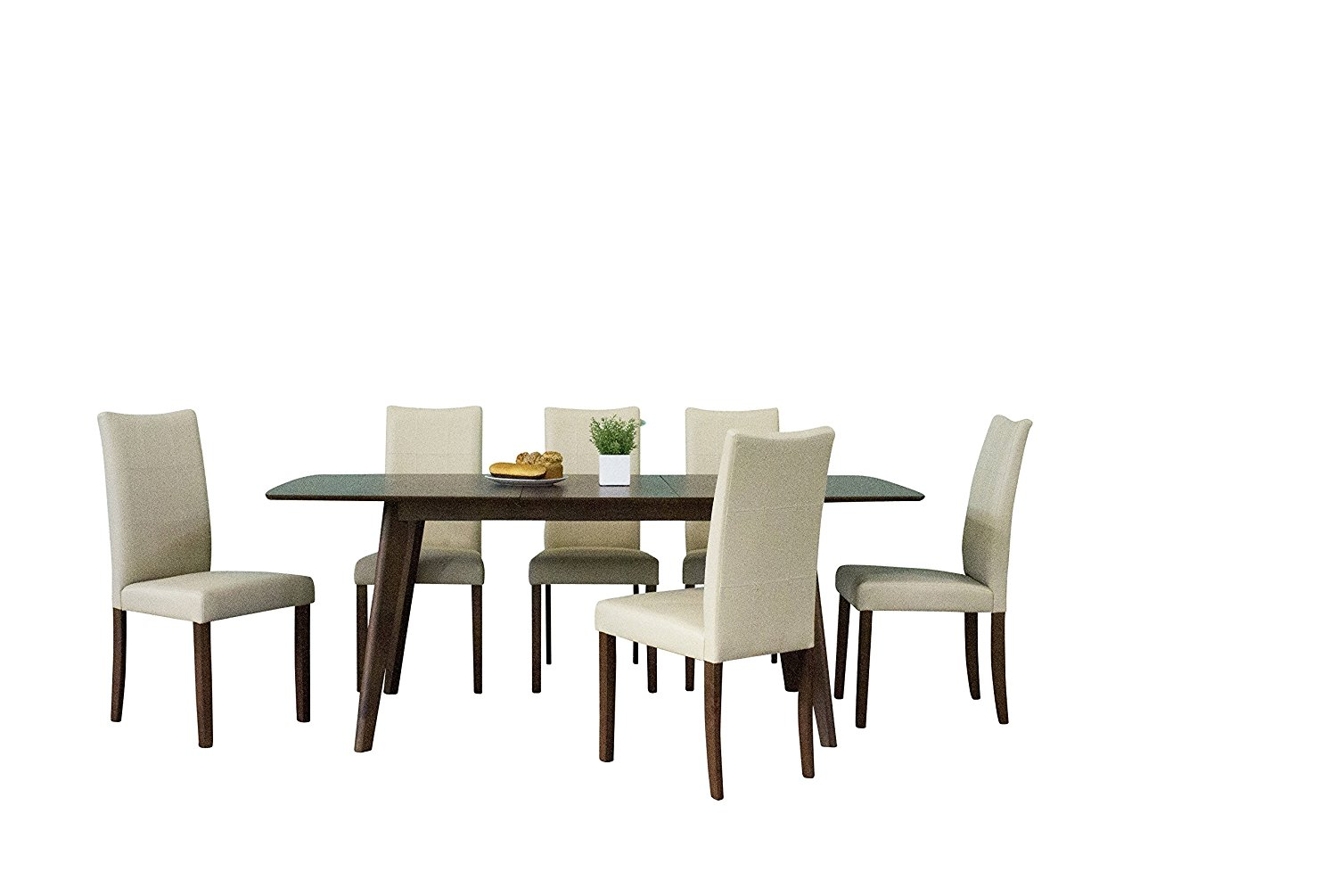 Midtown Concept Christine Mid-Century 7Piece Living Room Dining Set, Cream Leather