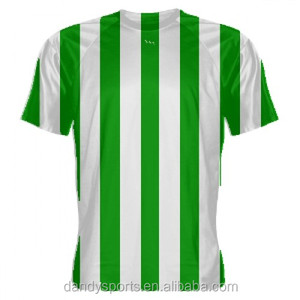 Hot selling sublimation soccer jersey personalized design football knitting green and white soccer uniform