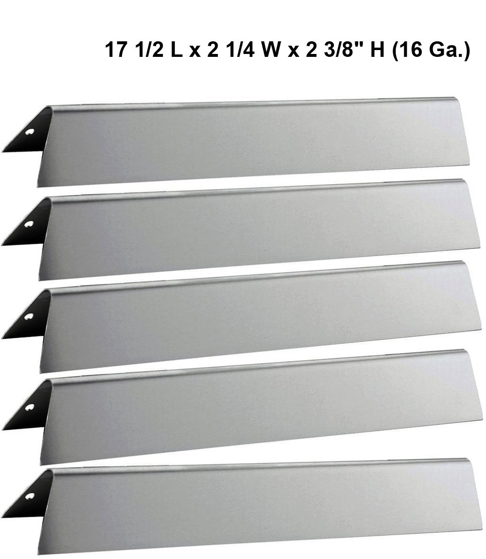 "17 1/2"" L Stainless Steel Heat Plates 7620 (5-Pack) For Weber Genesis 300 series Gas Grills (Front-mounted Control Panel), Dims: 17 1/2 x 2 1/4 x 2 3/8"" H (16 Ga.)"