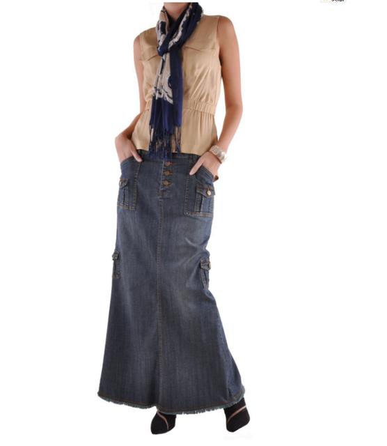 Women Vintage maxi denim Dresses Lady Charming Cargo Long Chic Denim Skirt  Blue jean skirts Plus size