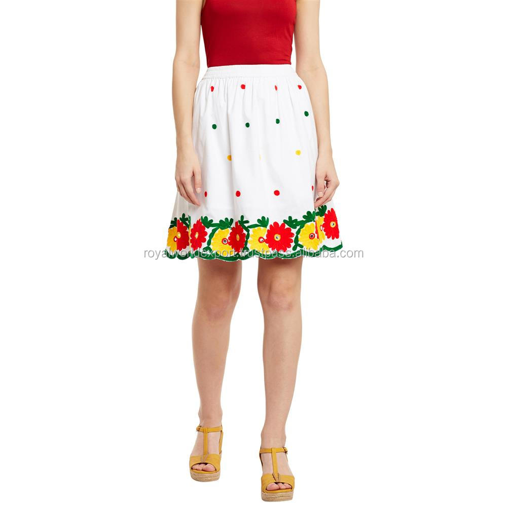 100% Polin Summer Knee-Length Bright Multicolored Floral Aari Embroidery scalloped Hemline Women Skirt