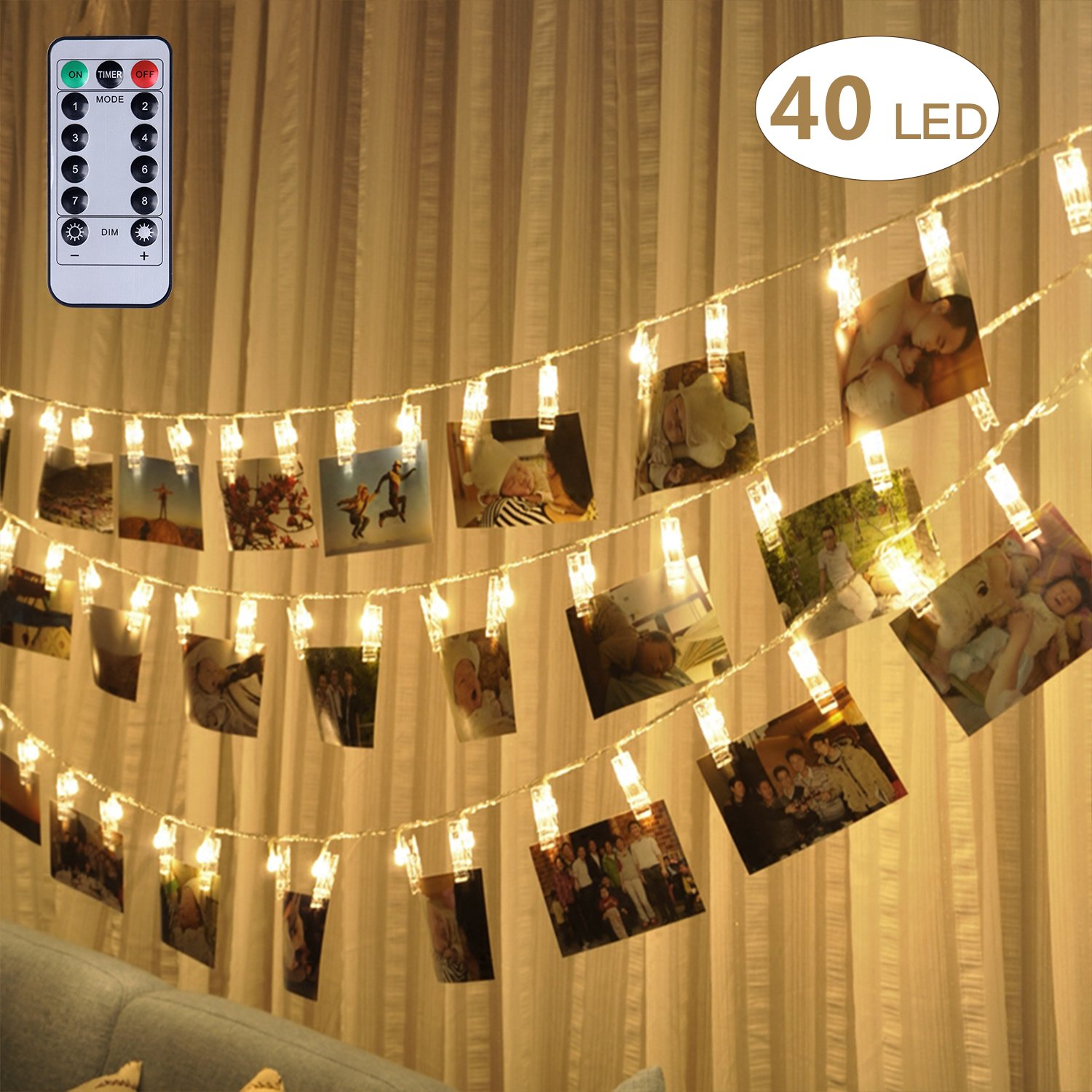 40 LED Photo Clip String Lights by Fourheart, 16 Feet Battery Operated with Remote and Timer Indoor Outdoor Decorate Lighting for Hanging Pictures Artwork Notes