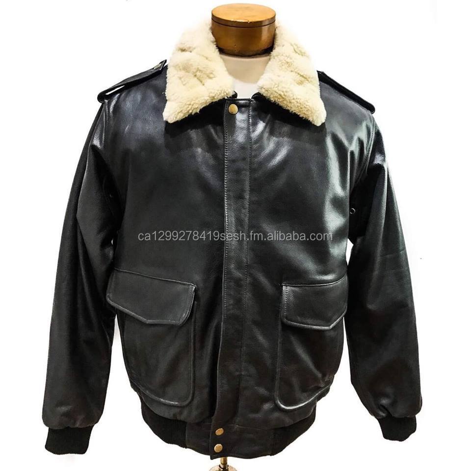 Mens Shearling Cow Leather Bomber Jacket Buy Brown Leather Bomber