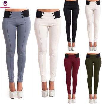 UK 6-20 Donne Vita Alta Signore Casuali Stretch Skinny Fit Pantaloni Pantaloni Leggings