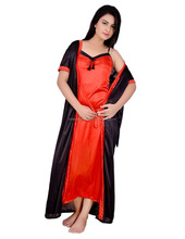 Vrouwen satin nighty met robe red & black