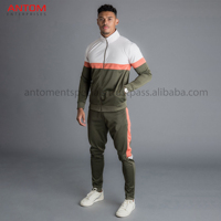 Casual Wear Design Your Own Men Winter Tracksuit With Green Orange Stripe