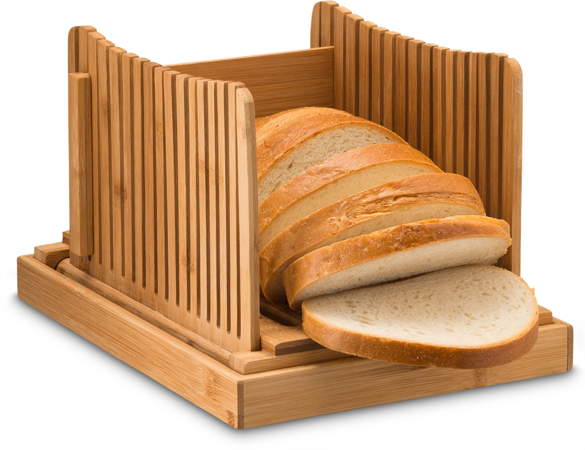 Bamboo Bread Slicers for Homemade Bread, Compact Foldable Bread Slicer Guide, Wooden Bagel Slicer
