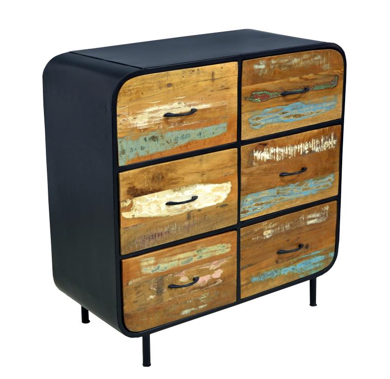 Neue Zuruckgefordert Holz Indischen 6 Schublade Holz Eisen Kommode