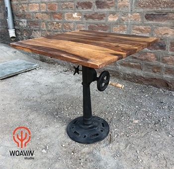 Woavin Luxury Modern Industrial Iron Gears Table Wooden Top