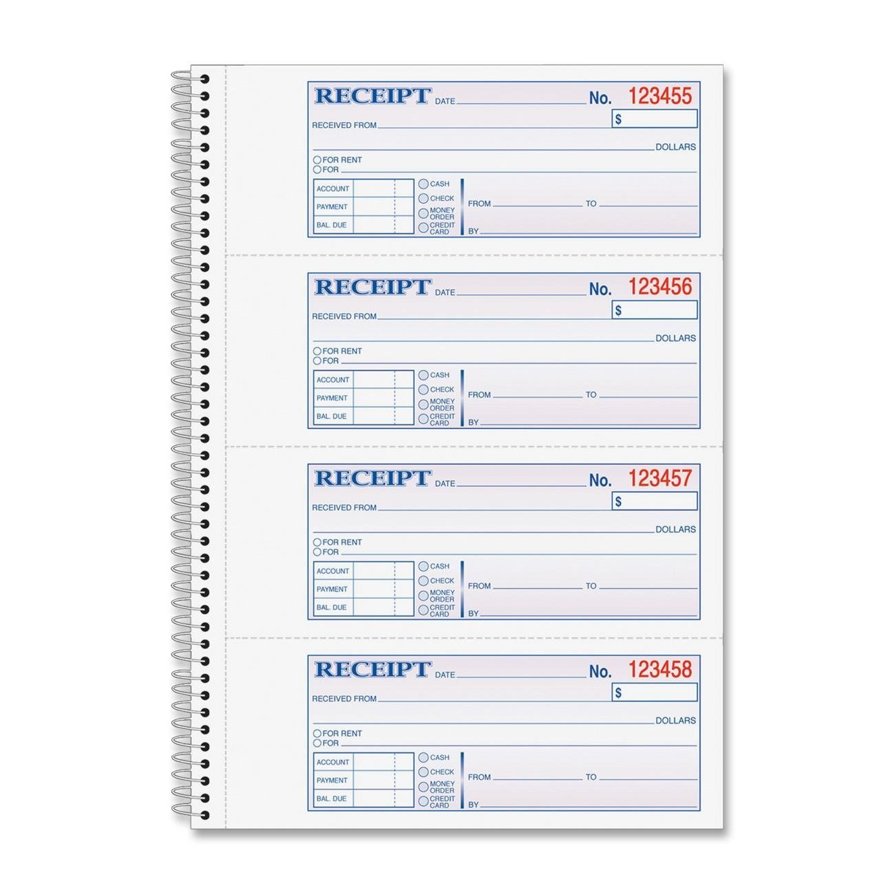 Adams Wire Bound Money/Rent Receipt Books - 200 Sheet(s) - Spiral Bound - 2 Part - 2.75quot; x 7.62quot; Form Size - Assorted - 1Each