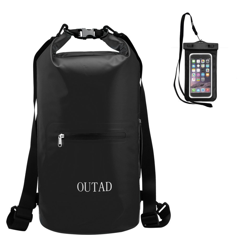 Waterproof Dry Bag Sack, OUTAD Roll Top Floating Dry Gear Bag with Adjustable Shoulder Straps & Cellphone Case for Kayaking, Swimming, Boating, Hiking, Camping (Black, 10L with Cellphone case)
