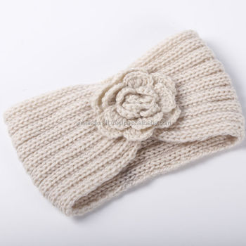 Flower Knit Headband Winter Women Ear Warm Crochet Headwrap Lady