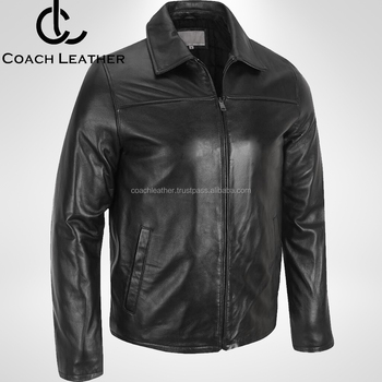2018 Classic Men S Black Leather Zipper Front Pocket Jackets Made In