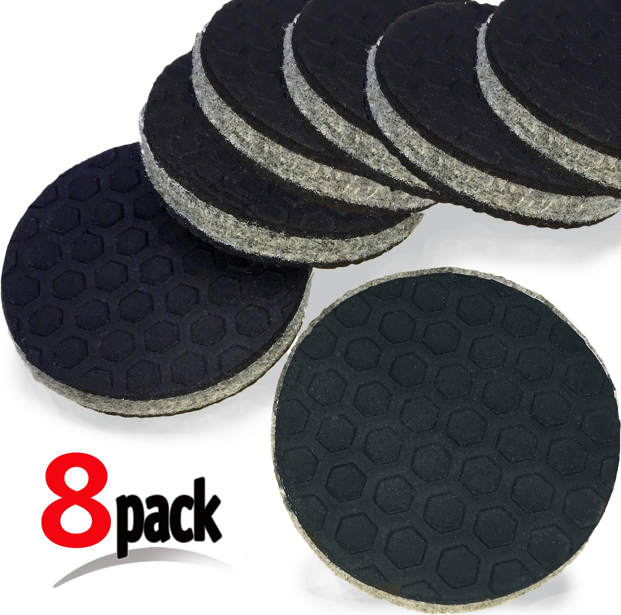 """""""SlipToGrip"""" 8 Pack Furniture Grippers by iPrimio - Furniture Non-Slip Pads 2"""" Round with 3/8"""" Heavy Duty Felt Core. No Adhesive. No Nails. Won't Harm Floors."""