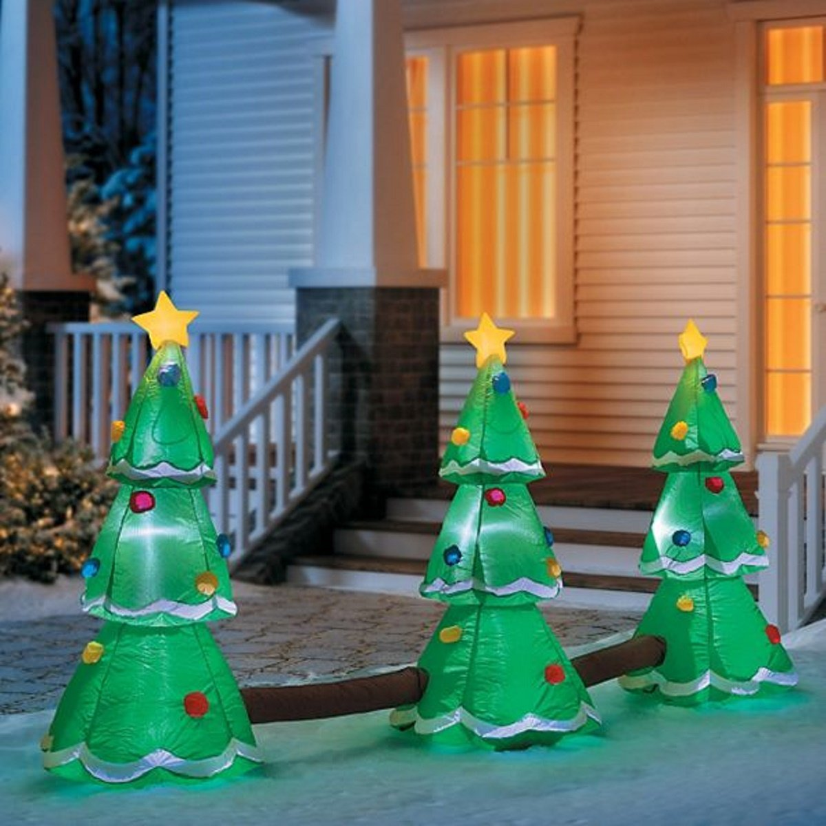 get quotations christmas inflatable 3 tree led musical lightshow airblown yard decoration - Christmas Yard Decorations Patterns