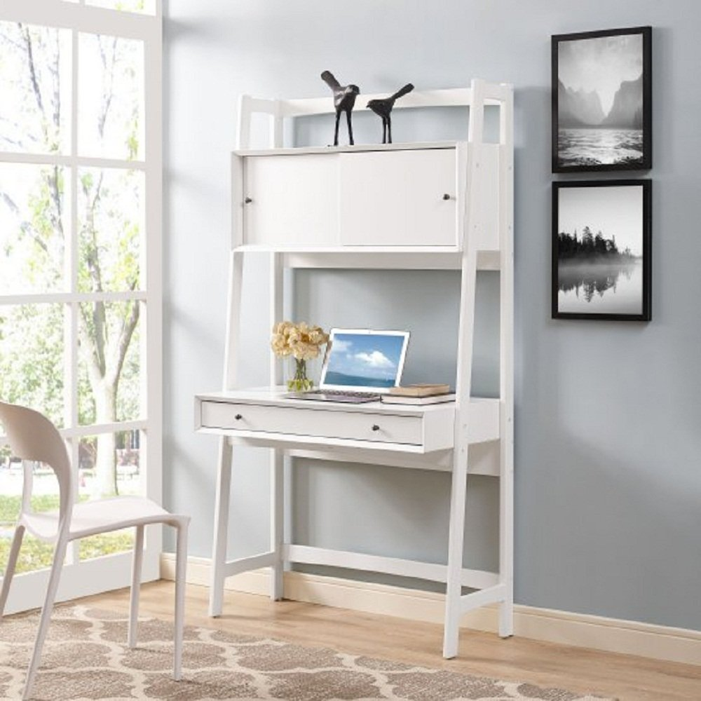 Home Office Desk Study Table w/ Wide Desktop, Pull Out Drawer, Cabinet w/ 2 Sliding Door & Storage Shelf - Laptop, Books, School Paper,38W x 15D x 70.5H in., Sturdy Hardwood Frame + Free Ebook (White)