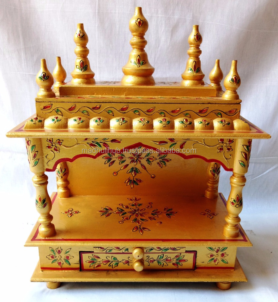 Golden Color Indian Traditional Design Hindu Religious Wooden Temple For Home