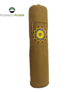Solid colors chakra embroidery yoga mat bag