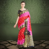 Indian Silk Sarees Shared Red & Pink Colour Banarasi Silk Woven Work Saree