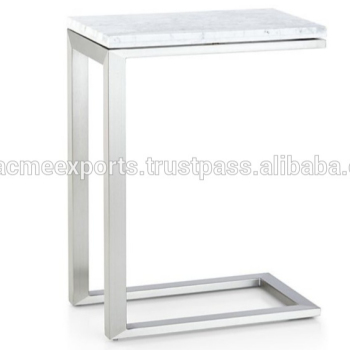 Stainless Steel Side Tea Table Glass Top Coffee Table Modern