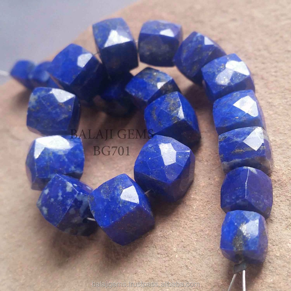 Bg701 Factory Price Natural Lapis Lazuli Faceted Square Cube Beads Gemstone