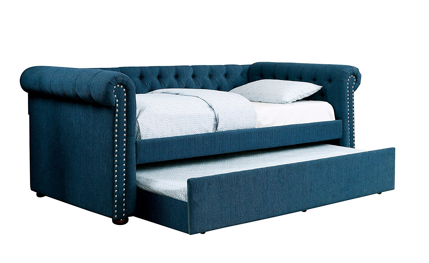 HOMES: Inside + Out Justina Transitional Daybed with Trundle, Twin, Dark Teal