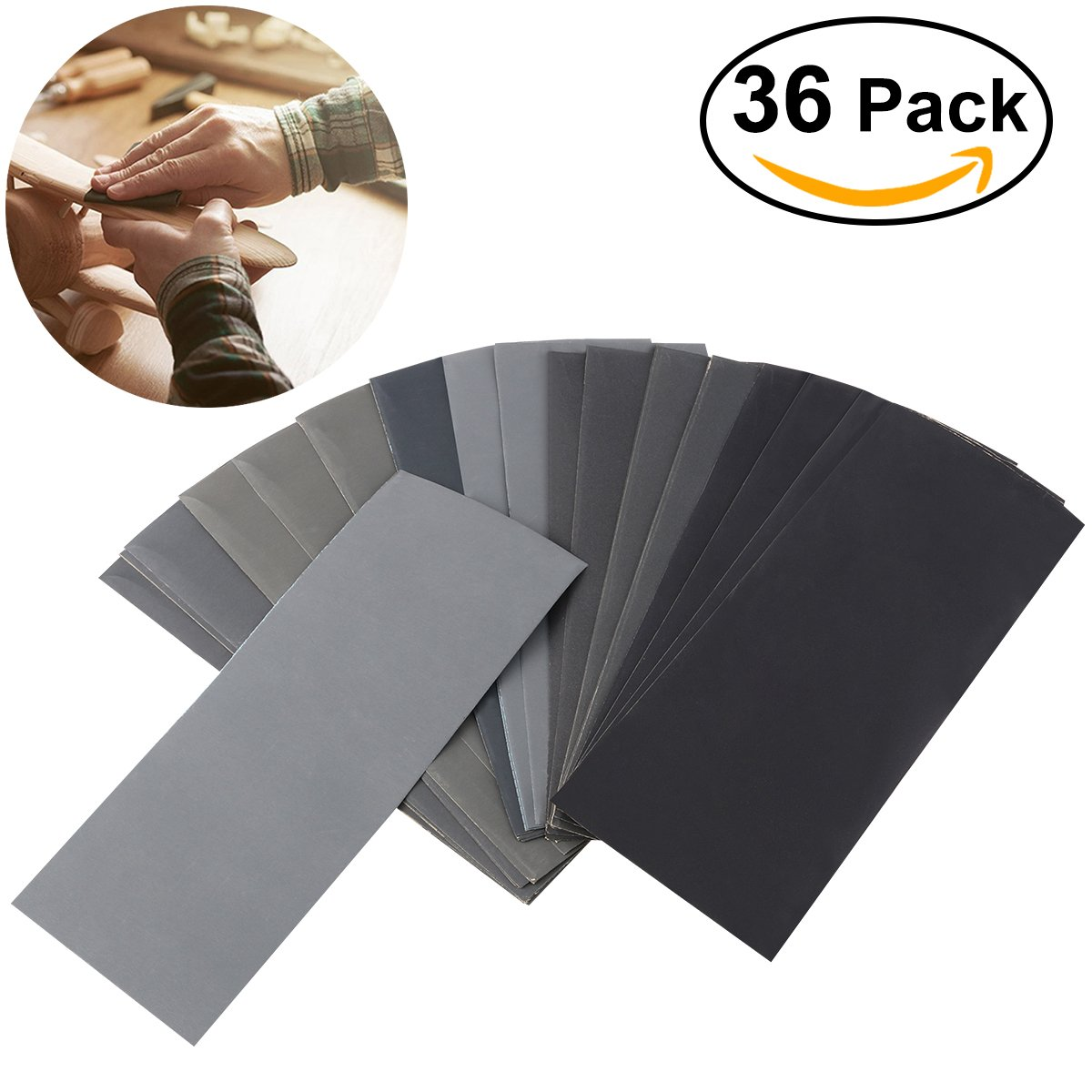 UEETEK Dry Wet Waterproof Sandpaper Sheets Assorted Grit of 400/ 600/ 800/ 1000/ 1200/ 1500/ 2000/ 2500/ 3000 for Automotive Sanding Wood Furniture Finishing - PACK OF 36