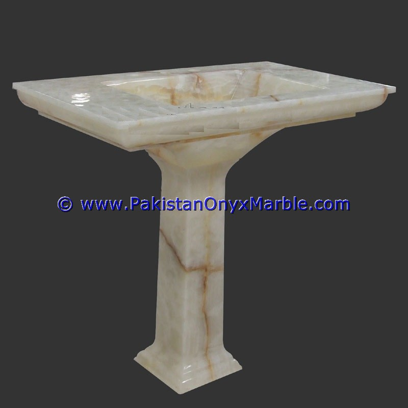 PAKISTAN FACTORY MADE BEST PRICE ONYX PEDESTALS SINKS BASINS WHITE ONYX