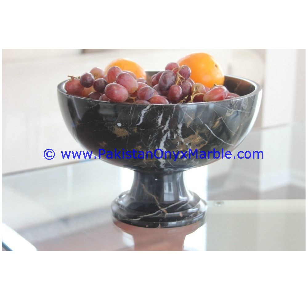 A GRADE MARBLE FRUIT BOWLS BLACK AND GOLD MARBLE