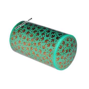 Cylindrical Shape Green Paper Mache Decorative Keepsake Handmade Simple Decorative Paper Mache Boxes