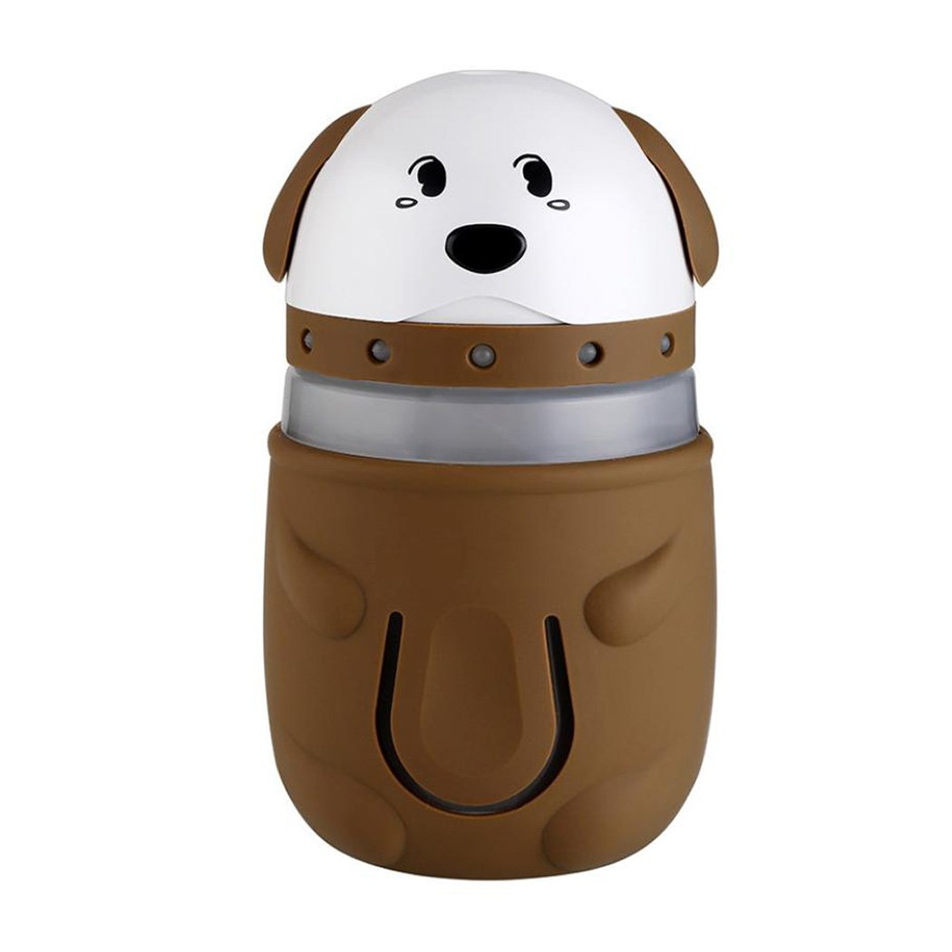 Cool Mist Humidifier, Inkach Cute Dogs Shaped LED Lamp Humidifier Lighting Air Diffuser Purifier Atomizer (Brown)
