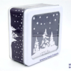 christmas snow design square window tin box